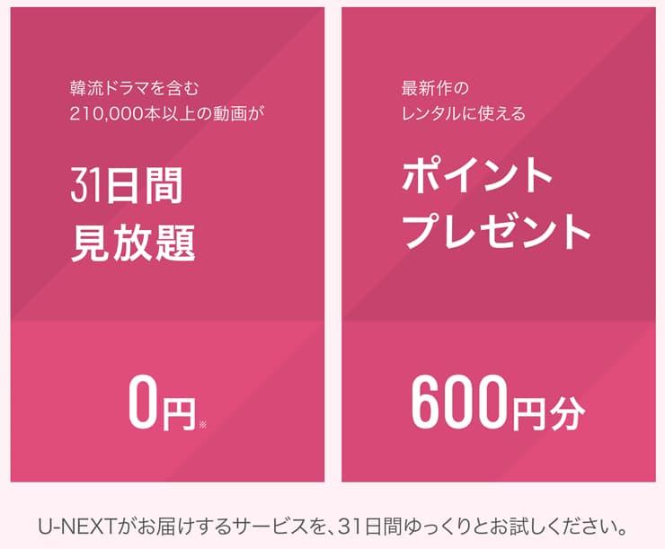 U-NEXTキャンペーン内容画像